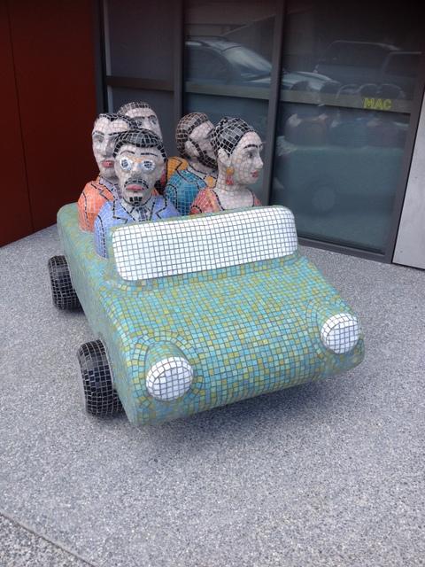 Frida's Car Load, Tony Woodward, 1999. Ceramic tile sculpture located outside the Moonah Arts Centre, Hopkins Street, Moonah