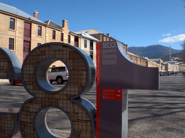 1833, an element of the Battery Point Sculpture Trail, a Hobart City Council Public Art initiative with artistic team Futago in collaboration with Judith Abell and Chris Viney.