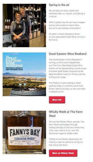 A newsletter for The Farm Shed East Coast Wine Centre