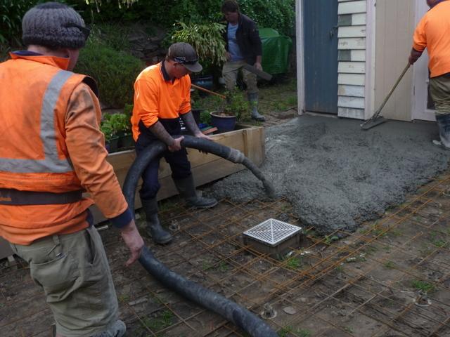 Courtyard concreting under way