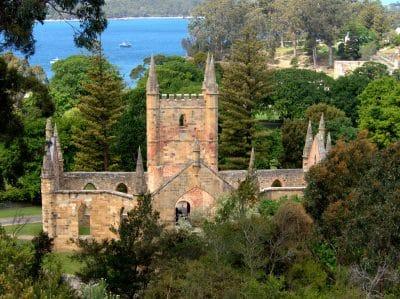 The convict-built church at Port Arthur, Tasmania