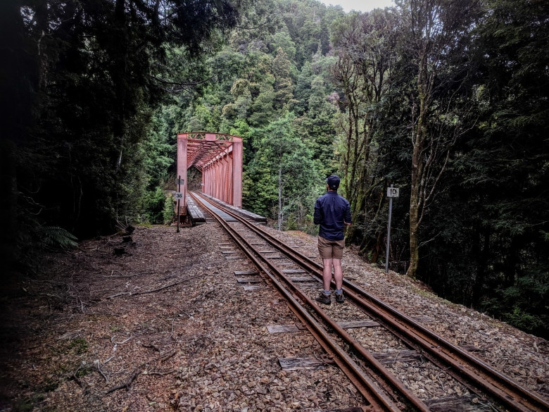 Rob files a drone around the Iron Bridge along the West Coast Wilderness Railway line between Queenstown and Strahan