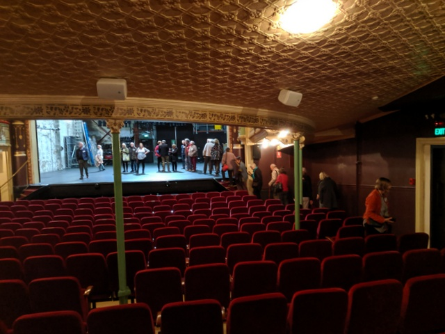 The stage of Hobart's Theatre Royal from the back of the stalls