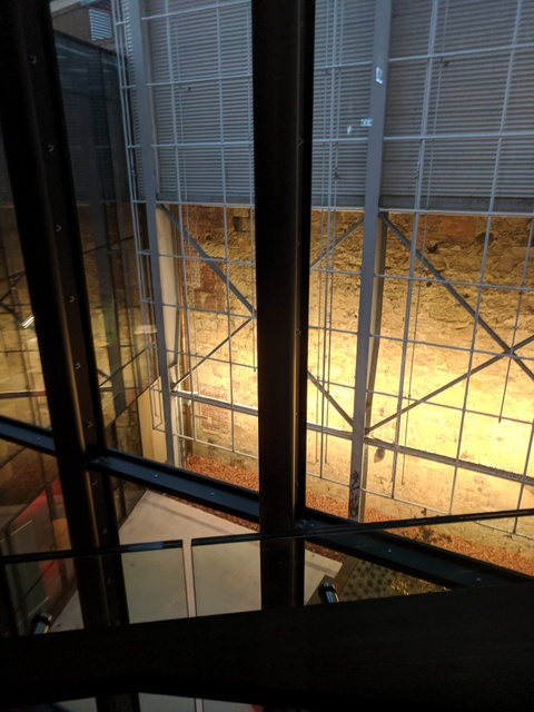 Another view of the Theatre Royal's original sandstone wall from the new foyer areas of The Hedberg