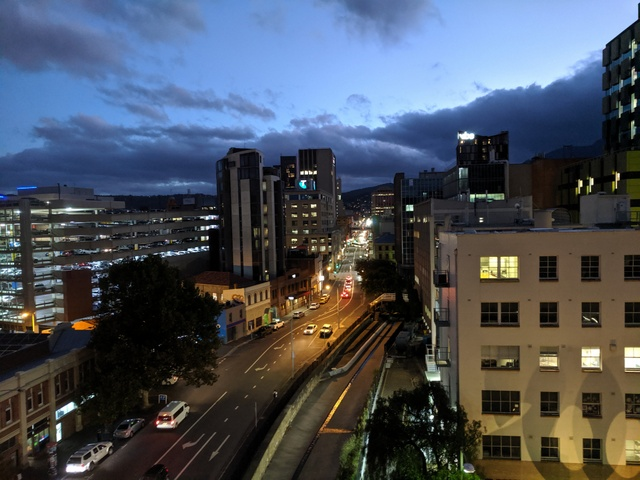The view up Collins Street, Hobart from the outdoor terrace at The Hedberg