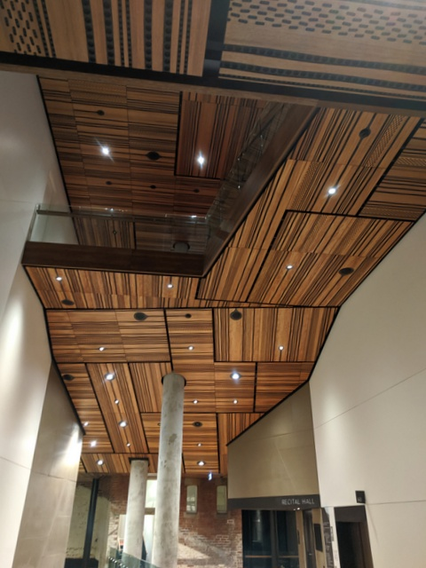 Patterned timber ceilings over foyer areas at The Hedberg