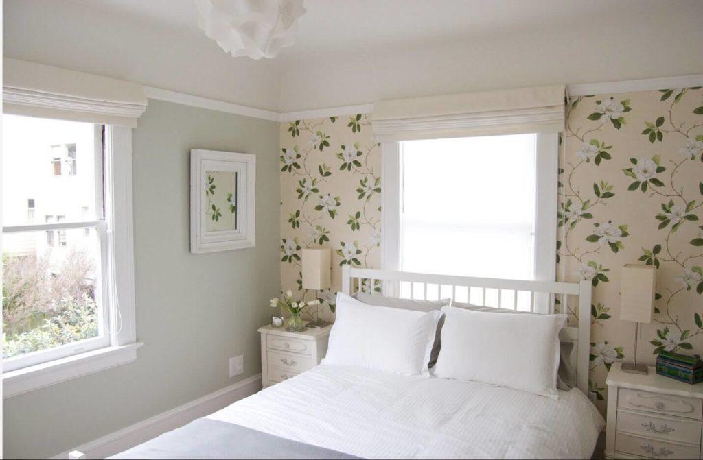 флористика обои спальня