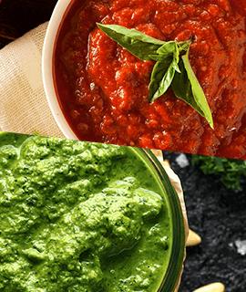 Receita especial para o domingo: macarrão ao pesto com molho de tomate