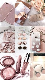 rose gold iphone cute wallpapers backgrounds collage aesthetic pink hd resolution lockscreens background makeup glitter 3diphonewallpaper phone screen lock mei