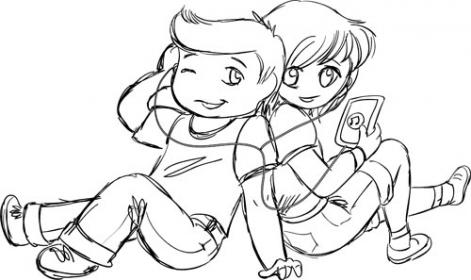 friends coloring chibi pages cute doodle teens forever rocks