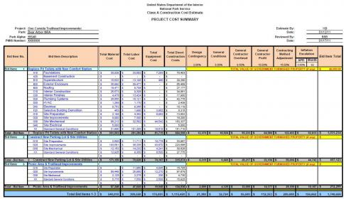 construction estimate cost template management engineering projects
