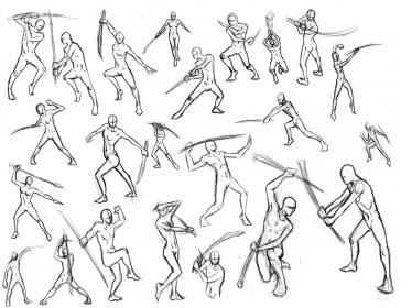 pose dynamic character poses action sketches sword drawing fighting reference anime male draw swords refference con posturas actions line fda