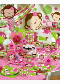 birthday themes party theme monkey pink 1st baby creative parties mod bday decorations turning unique supplies mylittlemoppet idea table express