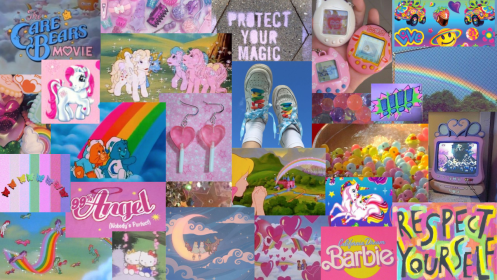 laptop wallpapers kidcore aesthetic collage 90s care pink bears barbie posts