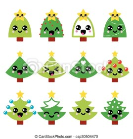 kawaii christmas tree cute green star drawings vector illustration drawing clipart decorated isolated characters clip shutterstock pic canstockphoto