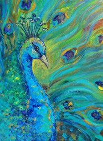 canvas painting peacock easy beginners paintings acrylic bird watercolor animals drawing oil diy summer paint colors beginner pinturas peacocks feather