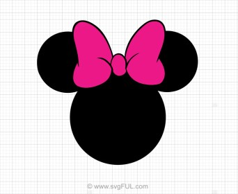 Minnie Mouse Head Pink Bow Svg Clipart svgFUL