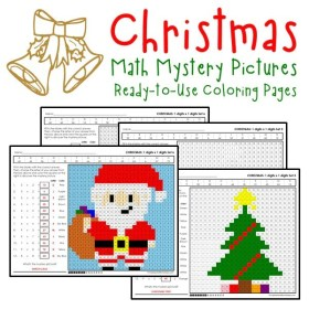 multiplication christmas coloring worksheets math pages worksheet facts number multiplying practice printables