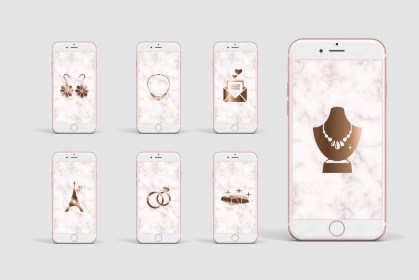 Jewelry store IG Rose gold Instagram Story Covers, Rose