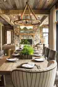 lake rustic wisconsin interiors modern dining cozy chandelier decor lakeside retreat homes decorating onekindesign cabin gorgeous contemporary fireplace inviting features