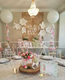 shower decorations flowers niña themes catchmyparty decor rustic para babyshower decoracion paper temas accents floral reveal gender boho sweetest bebe