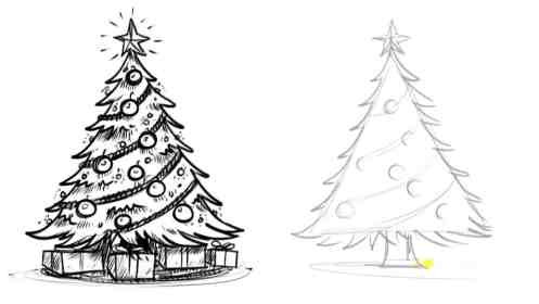 tree christmas draw drawing realistic easy things simple drawings trees xmas sketch bored cool pencil re scenes diy doodle doodles