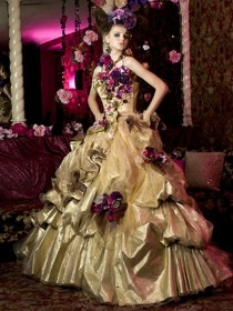 gypsy dresses gold gowns bride every bridal purple gown orange colorful gothic weddings fat yellow irish gypsies quinceanera flower flowers