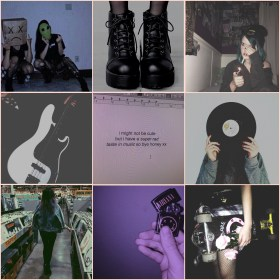 aesthetic grunge collage mood board moodboard peach nirvana soft smoking picsart boots covers album combat teal