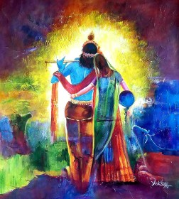 krishna radha paintings painting easy lord wallpapers indian india unique 26in radhe gopika divine current handpainted 24in