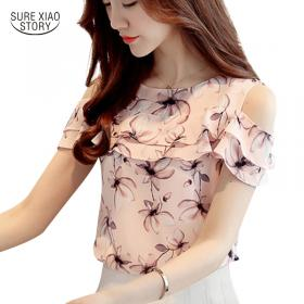 2018 Women Off Shoulder Short Sleeve Blouses Print Floral