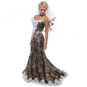 camo dresses camouflage realtree strapless bridal gowns weddings veil custom