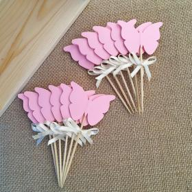 Arco y doble cara Rosa mariposa Cupcake Toppers Baby