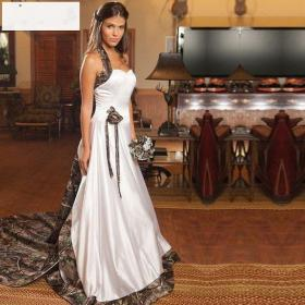 camo dresses cheap halter camouflage gowns train realtree mermaid court detachable robe satin custom gorgeous western country bridal mariage flowers