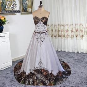 camo camouflage lace chocolate dresses tie strapless satin line embroider colorfully crystals bridal