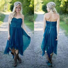 teal country hi low bridesmaid lo chiffon lace simple ruffles weddings gowns
