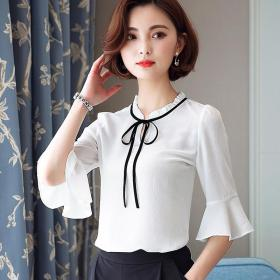 2017 Summer Woman Chiffon Shirt Loose Solid Color Round