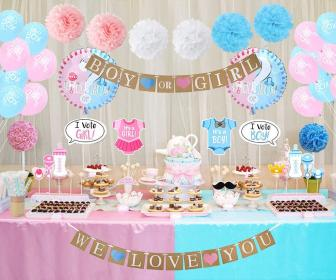 reveal gender shower decorations boy partisi cinsiyet balloons cha table decoracao props themes belirleme supplies revelacao favors simples dessert booth