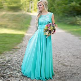 dresses bridesmaid lace turquoise chiffon teal cheap robe hippie bohemian honneur aliexpress neckline backless scoop length floor gown dhgate weddings
