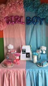 reveal gender table decorations dessert creative shower mybabydoo themes boy simple decorating pink decoration bebe balloons steal reveals club moormeier