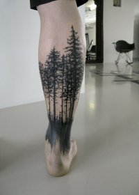 forest leg tattoo tattoos tree trees amazing blacked legs bear arms redwood body place