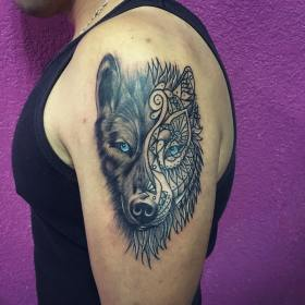 wolf tattoo tattoos shoulder mandala designs tribal meaning drawing lone awesome arm left strength meanings wolves cool mask tat got