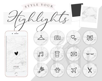 instagram icons highlight marble covers story app creative kits pixie arrivals branding styling fonts logos iphone