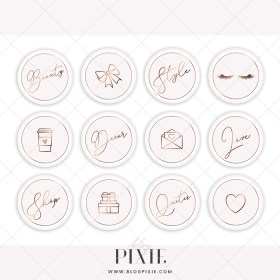 instagram icons pink gold rose glitter highlight email logos pale styling themes arrivals branding fonts blogger kits creative wordpress