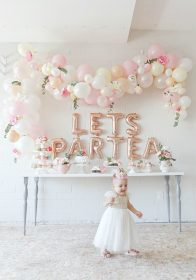 birthday party tea baby 1st decor decorations theme pink balloons diy themes scottie briebemisrearick celebration floral partea garland balloon rose
