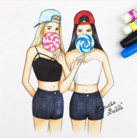 friends drawing bff drawings cute forever