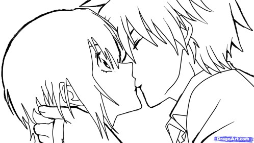 anime kiss kissing sketch drawing couple boy step drawings dragoart manga draw getdrawings guy couples easy coloring pages sketches paintingvalley