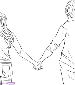 holding hands boy cartoon easy drawing coloring draw sketch pages drawings simple couple getdrawings hand anime hold pencil lovers drawn