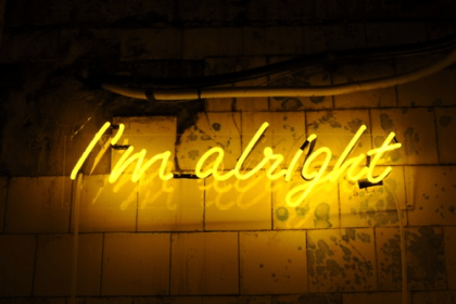 neon light aesthetic sign quotes yellow alright bright signs lighting lights cool heart