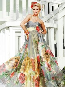 multi colored gown prom bride dressy traditional gowns tony sposa sfumature abito floral