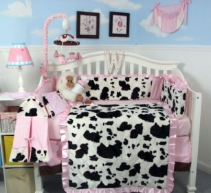 bedding nursery crib cow baby moo sets pink amazon soho chenille print cute pcs bag diaper changing included bags